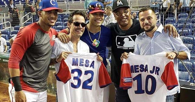 La familia Mesa, parte de la realeza del beisbol cubano, estuvo con su jefe Marc Anthony, en el showcase que efectuaron en Marlins Park