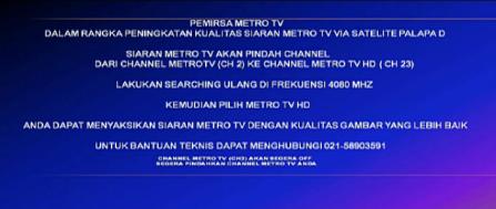 Frekuensi Terbaru Channel Metro TV HD