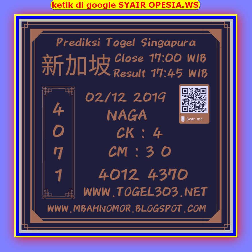 Kode syair Singapore Senin 2 Desember 2019 91