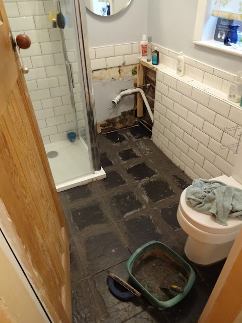 Grouting Black Tiles in Bathroom