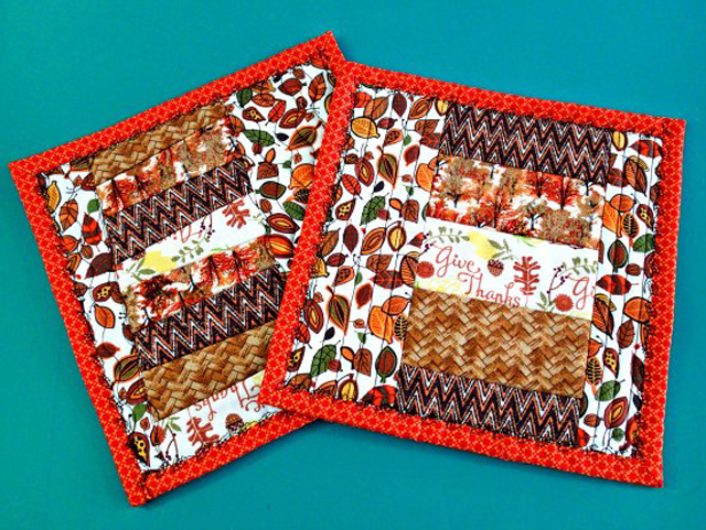 Learn how to make QAYG potholders with pockets. Tutorial by So Sew Easy.