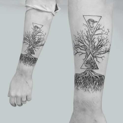 geometrik ağaç dövmesi geometric tree tattoo