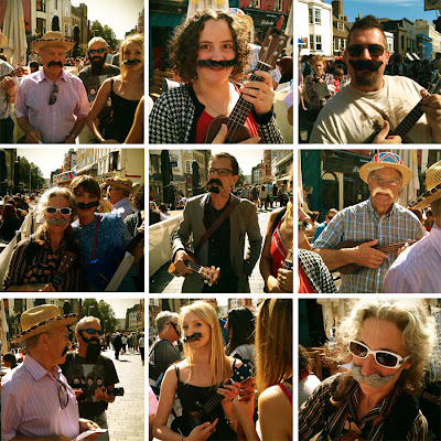 ukulele flashmob with beards and moustaches