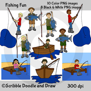 clip art images of kids fishing in a boat and on a dock