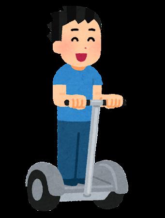 立ち乗り二輪車に乗る人のイラスト(男性)