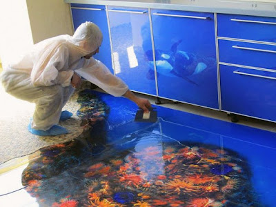 installing 3D flooring art with epoxy floor coating