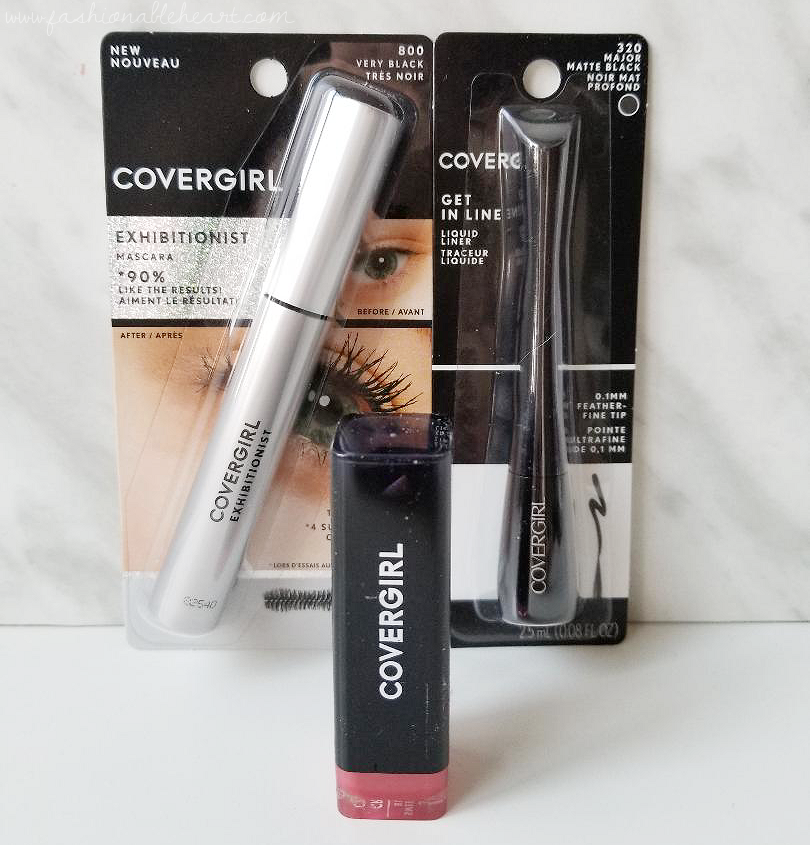 bblogger, bbloggerca, bbloggers, canadian beauty blogger, beauty blog, southern blogger, covergirl, influenster, influenster canada, vox box, exhibitionist mascara, exhibitions cream lipstick, get in line liquid liner, matte black, waterproof, sweetheart blush, swatches