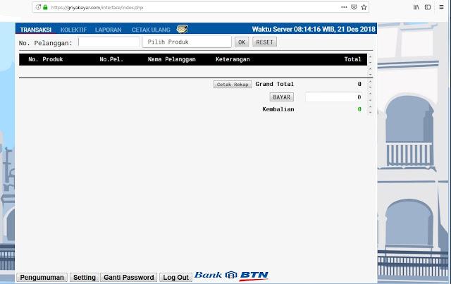tampilan web transaksi griya bayar