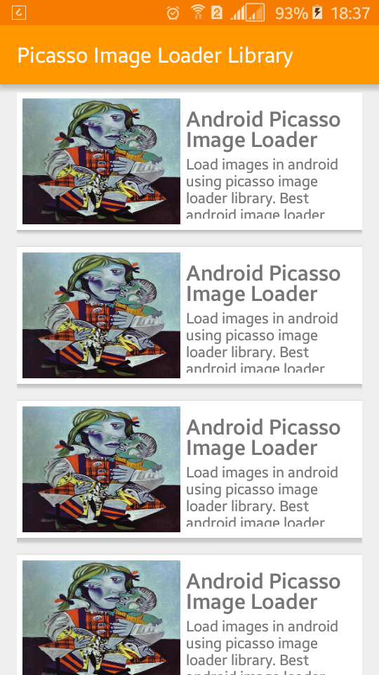 Android SDK does non convey a proficient means to acquire images from spider web as well as display it to android app Load Images Using Picasso Library inwards Android