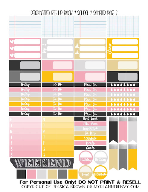 Free Printable Reformatted Back To School 2 Sampler Page 2 for the Original Stay Golden Big Happy Planner from myplannerenvy.com