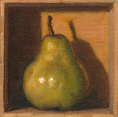 Oil painting of a pear in a small wooden box.
