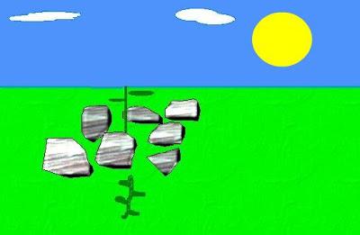 Dibujo de la Parábola 2 del Sembrador (planta con piedra se secó)