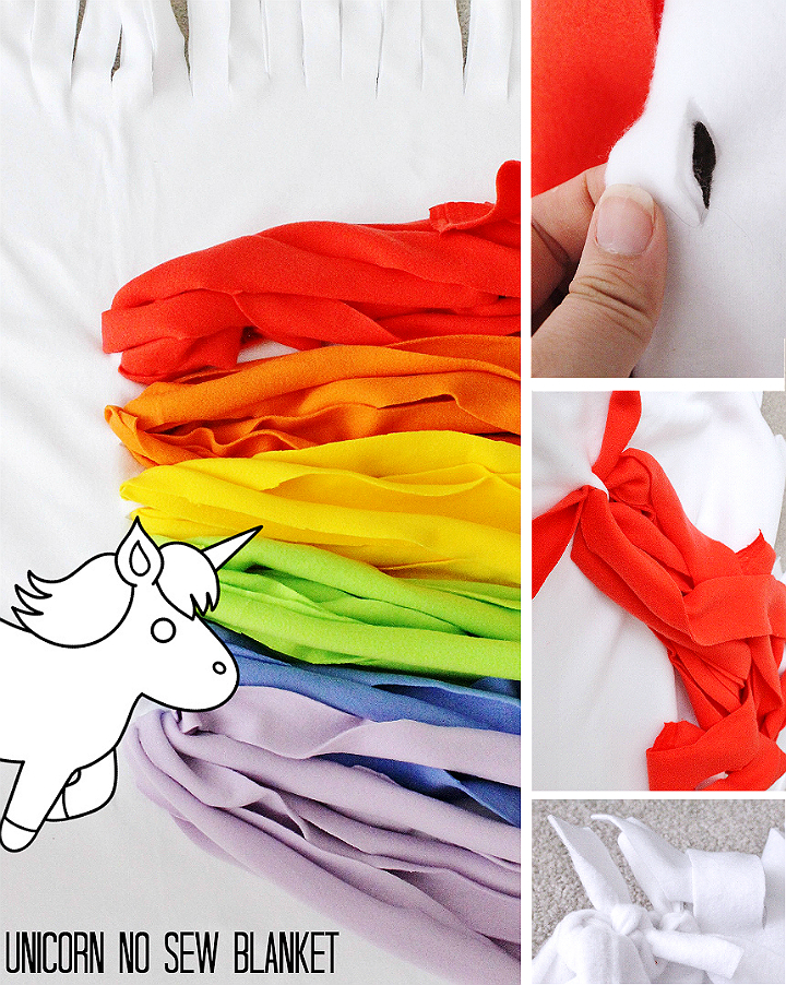 Make this no sew unicorn blanket in minutes, perfect for a family movie night! #YourTaxCash #AD