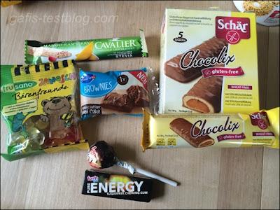 Cavalier white Mango-Raspberry, Schär Chocolix, Bahlsen Brownies, Frusano Bio Janosch Bärenfreunde und Fun'n Gum & Fun'n Energy Produkte