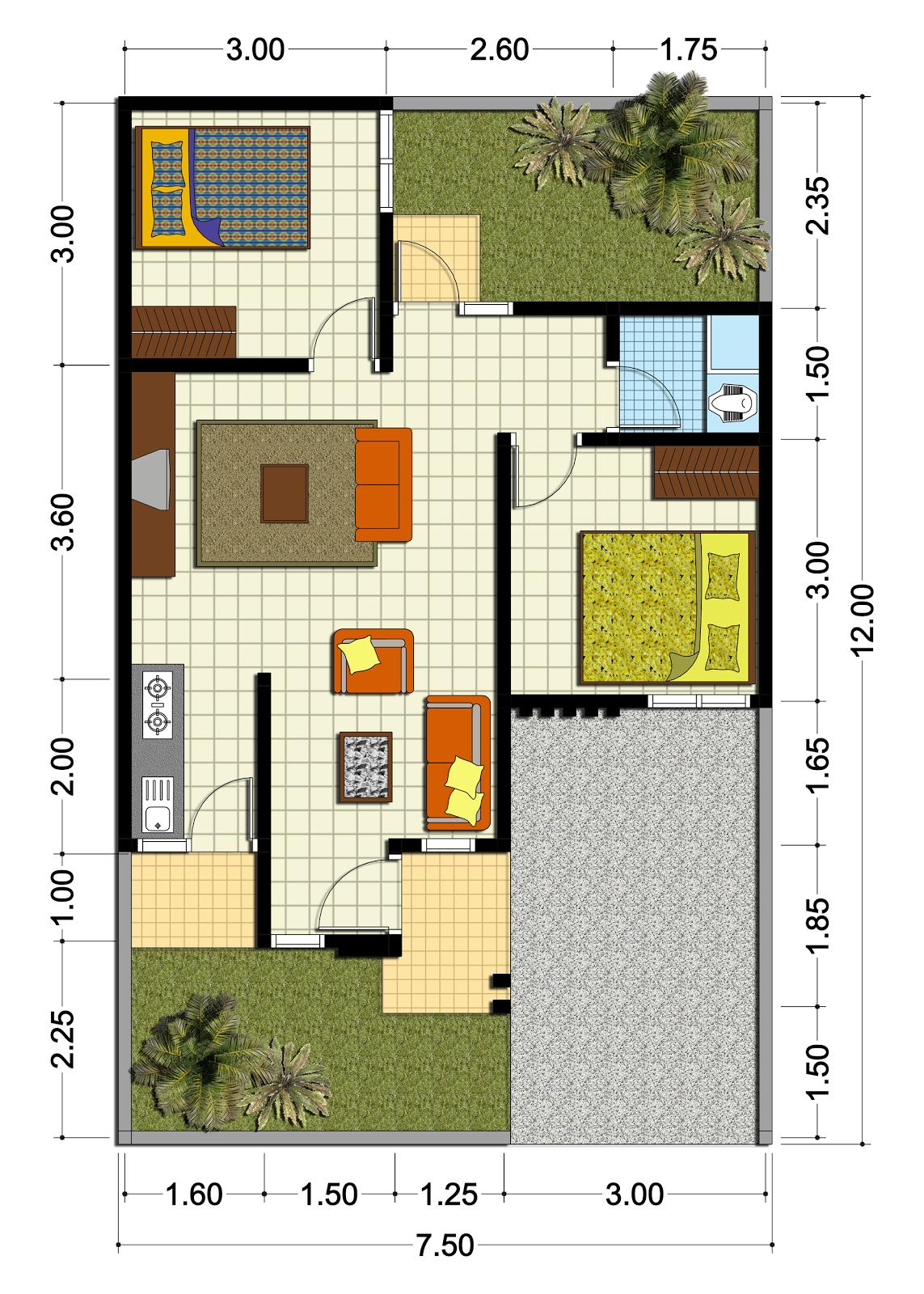 Gambar Desain Rumah Minimalis Type 54 3 Kamar Terbaru Desain