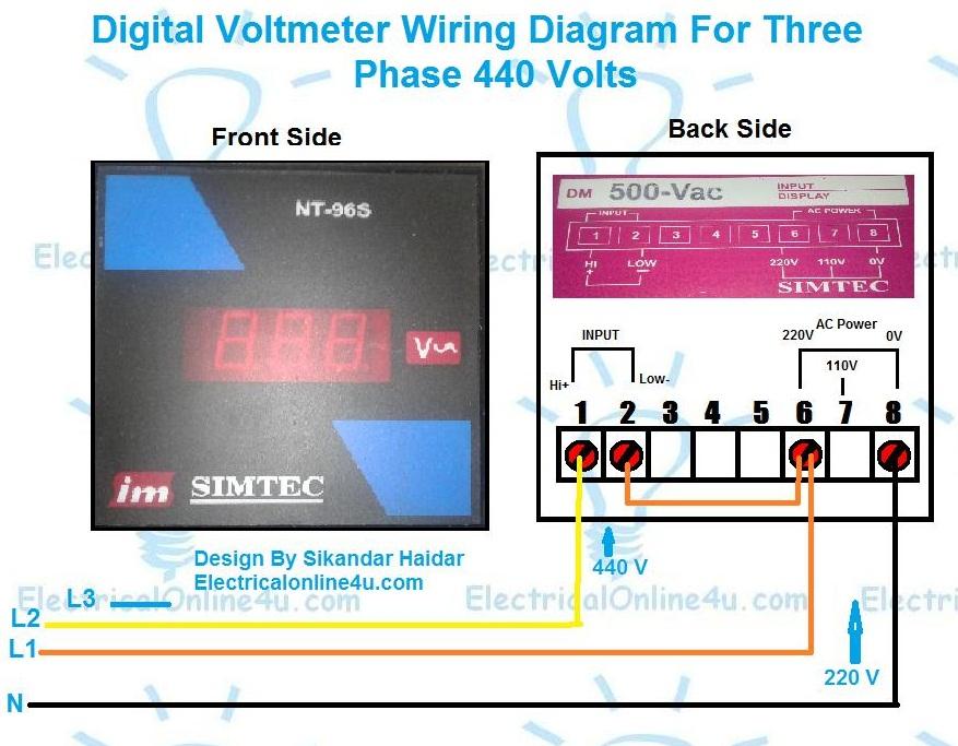 digital 3 phase voltmeter connection diagram for 440 volts
