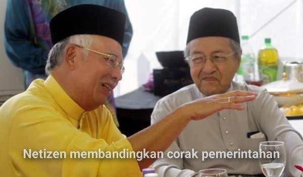 Netizen membandingkan corak pemerintahan Najib dan Mahathir