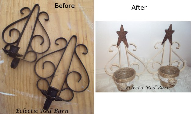 Eclectic Red Barn: Before and After Shots of Wrought Iron Sconces