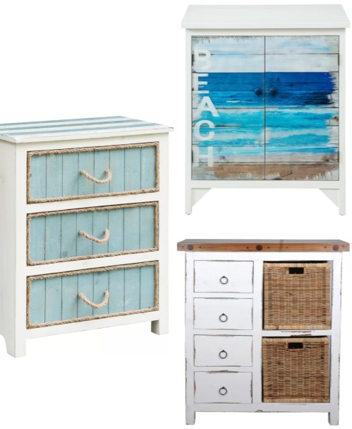 Coastal Beach Theme Accent Cabinets Chests Blue White