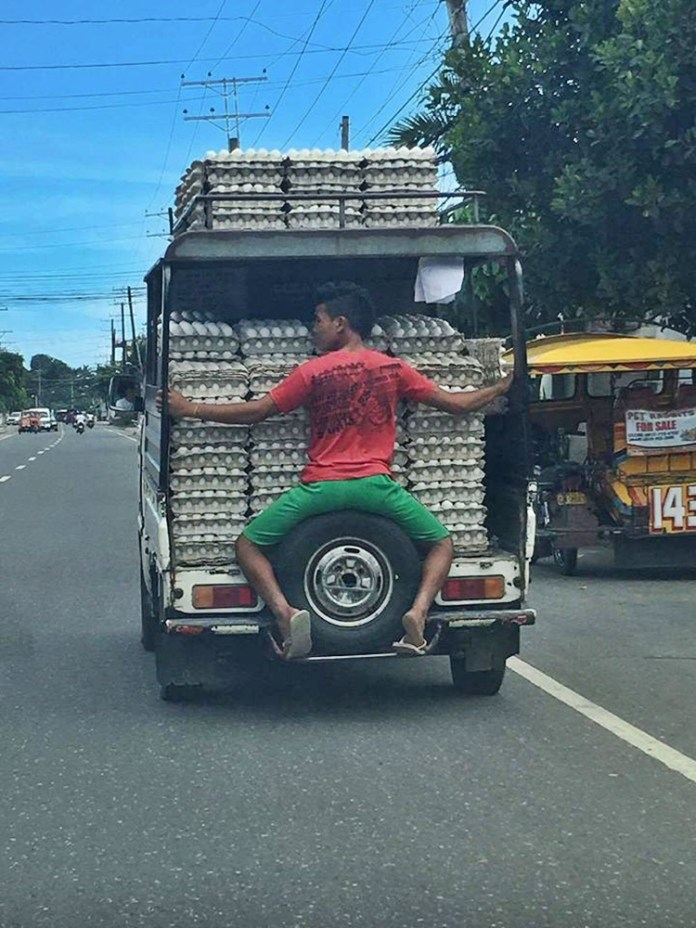 You Won't Believe What This Guy Did Just To Keep The Eggs From Falling While Travelling