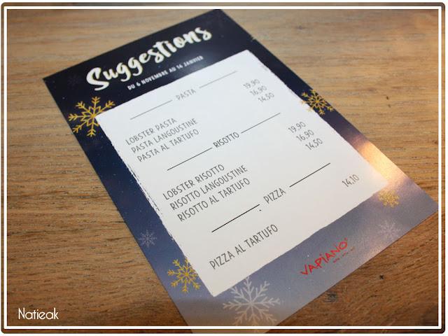 suggestions de fêtes du restaurant Vapiano