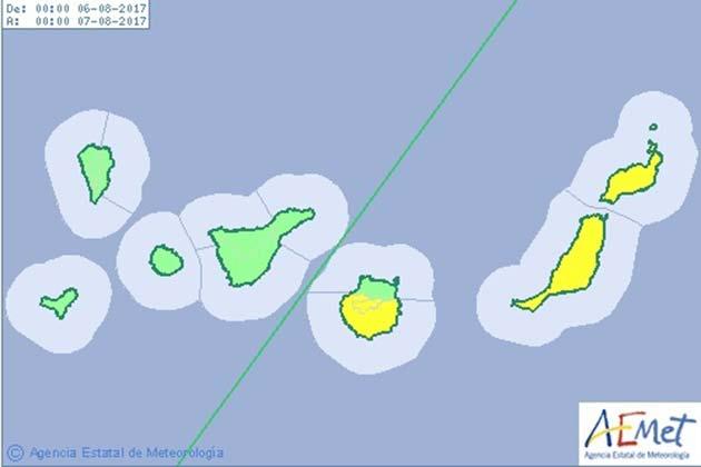 El día 6 de agosto, domingo, Gran Canaria, Fuerteventura y Lanzarote en aviso amarillo  por altas temperaturas