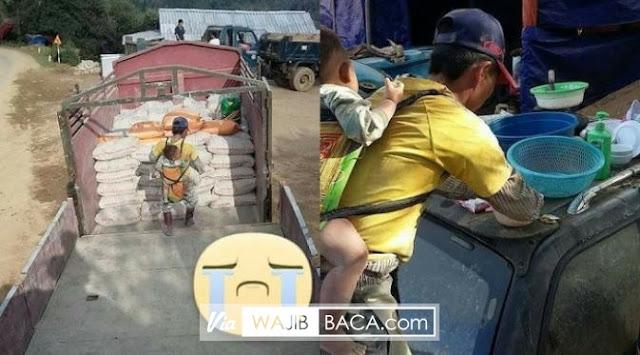 Pikul Anaknya Ketika Bekerja, Seorang Ayah ini Undang Empati Netizen