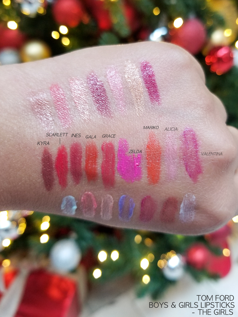 Tom Ford Boys and Girls Lipsticks - Swatches - Kyra - Scarlett - Ines - Gala - Grace - Zelda - Mariko - Alicia - Valentina