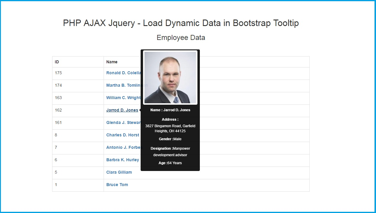 PHP AJAX Jquery - Load Dynamic Data in Bootstrap Tooltip