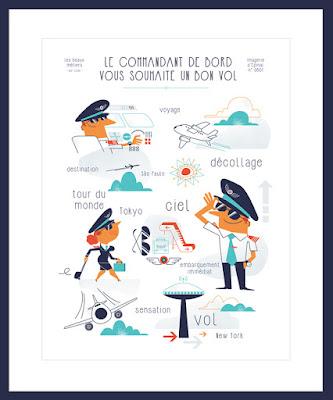 Clod illustration poster Imagerie d'Épinal pilote de ligne