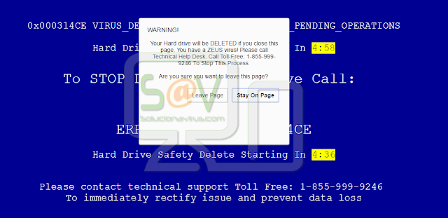 """Your Hard drive will be DELETED if you close this page"" pop-ups (Falso soporte)"