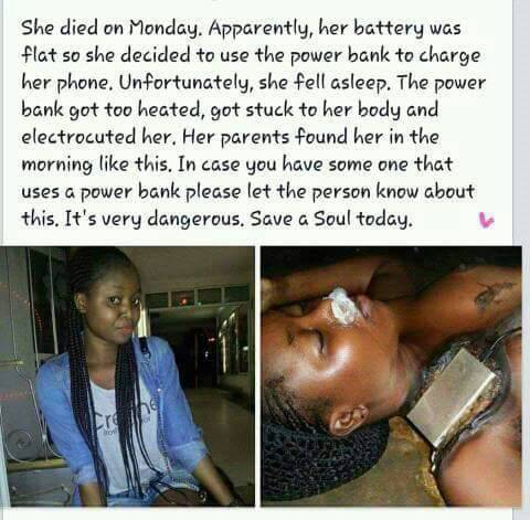 Young Lady Loses Her Life in Charging Her Phone With Power Bank