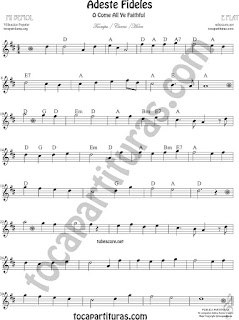 Trompa y Corno Francés Partitura de Adeste Fideles en Mi bemol Sheet Music for French Horn O come All Ye Faithful Music Scores