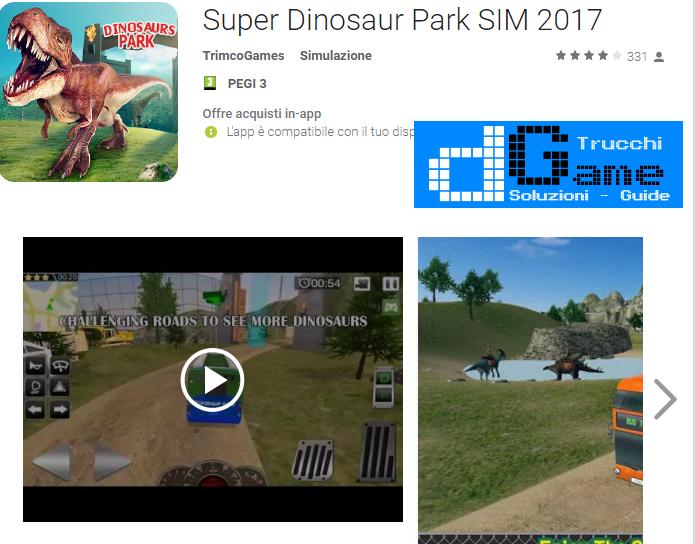 Trucchi Super Dinosaur Park SIM 2017 Mod Apk Android v1.6
