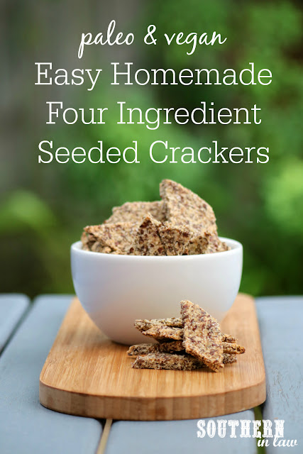 Easy Homemade Paleo Crackers Recipe - gluten free, vegan, grain free, low carb, dairy free, egg free, clean eating recipe, nut free, high fibre