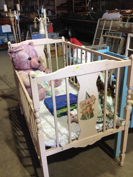 Vintage Pink Crib With Elephant Decals