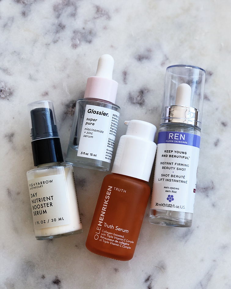 Fig & Yarrow Day nutrient Booster Serum, Glossier Super Pure Serum, Ole Henriksen Truth Serum Vitamin C, Red Clean Skincare Instant Firming Beauty Shot