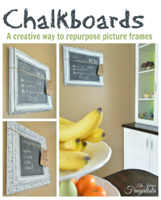 Picture frames repurposed into chalkboards