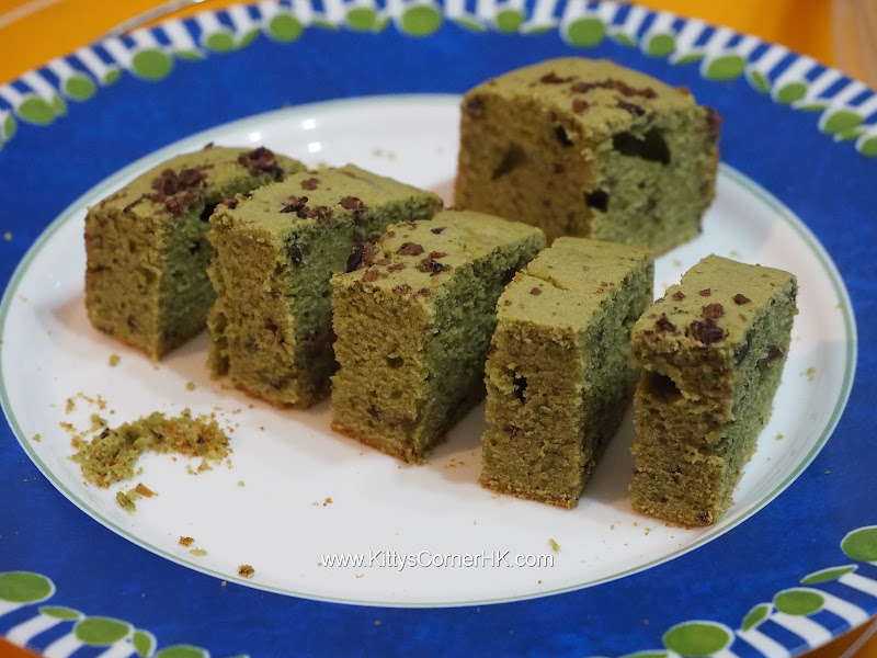 Green tea red bean cake DIY recipe 綠茶紅豆蛋糕自家食譜