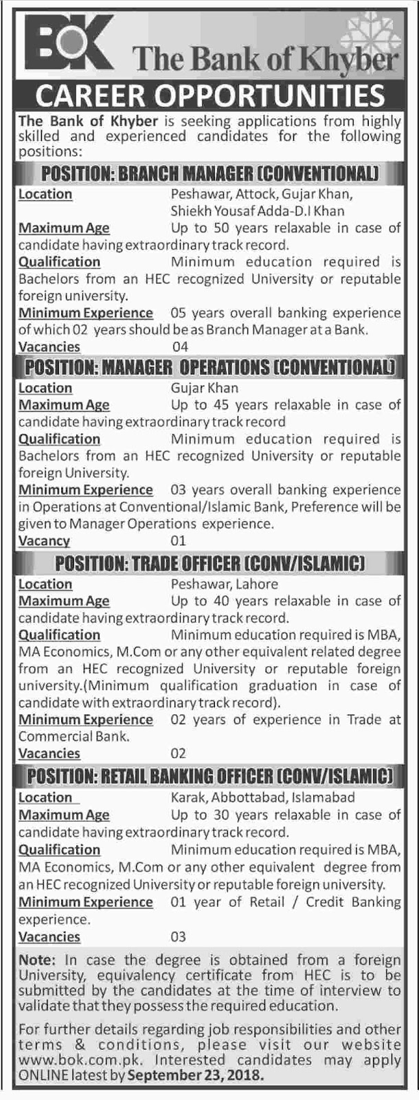The Bank Of Khyber BOK Jobs 2018 | Peshawar | September