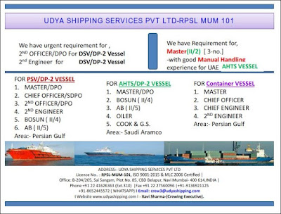Recruitment Crew For PSV, AHTS, Container Vessel