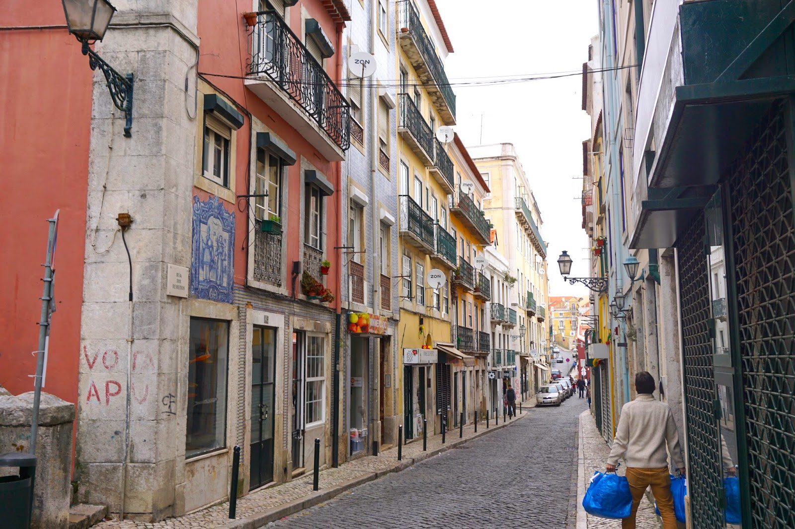 The streets of Lisbon's old neighbourhood Alfama on a Saturday afternoon