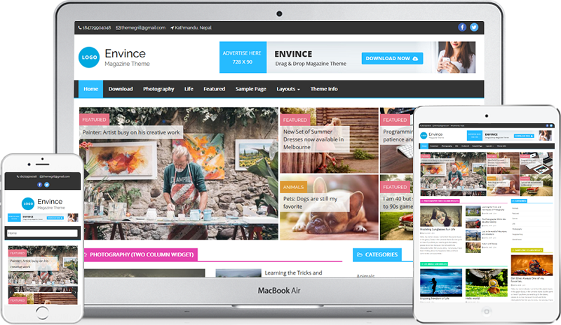 Envince Magazine Drag & Drop WordPress Theme Free Download