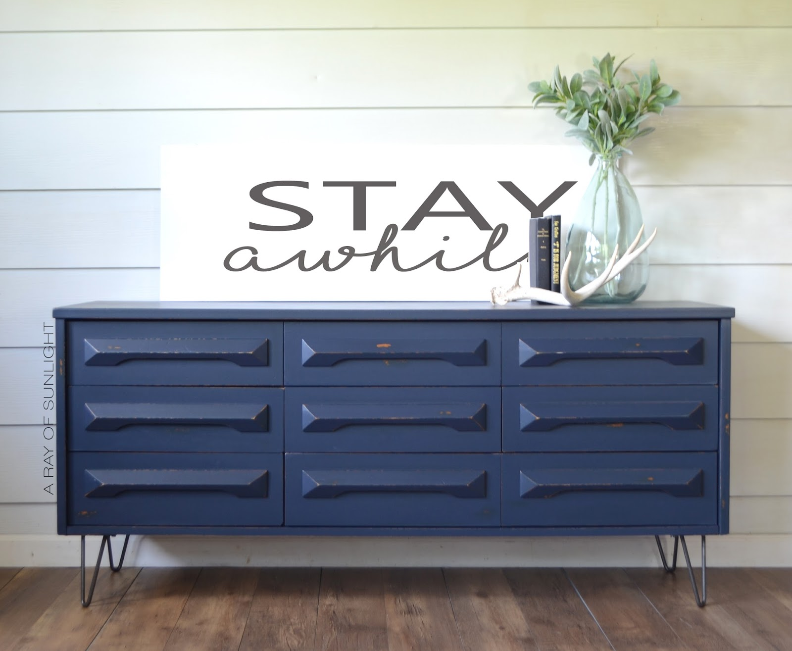 Farmhouse Modern Dresser Transformation in General Finishes Midnight Blue with Added Industrial Hairpin Legs