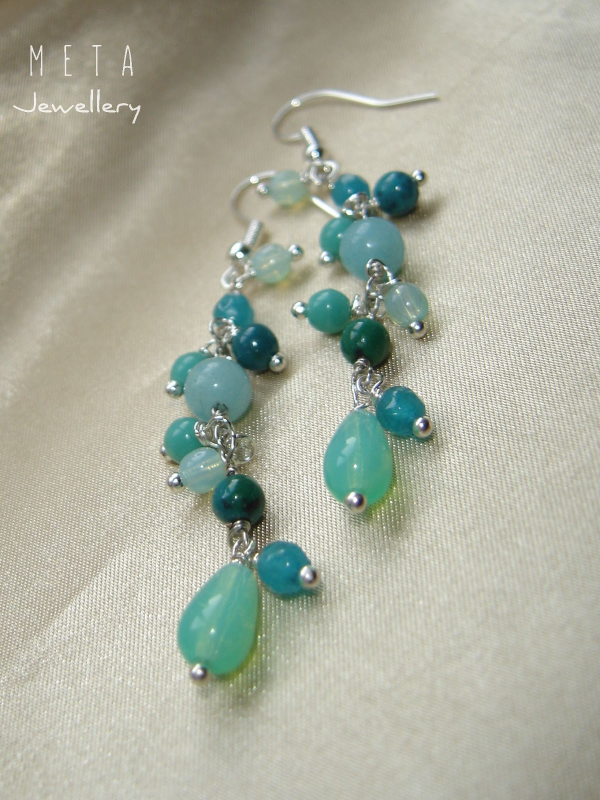c178a97db53c Wire wrapped earrings with blue amazonite, agate, chrysocolla and czech  glass beads
