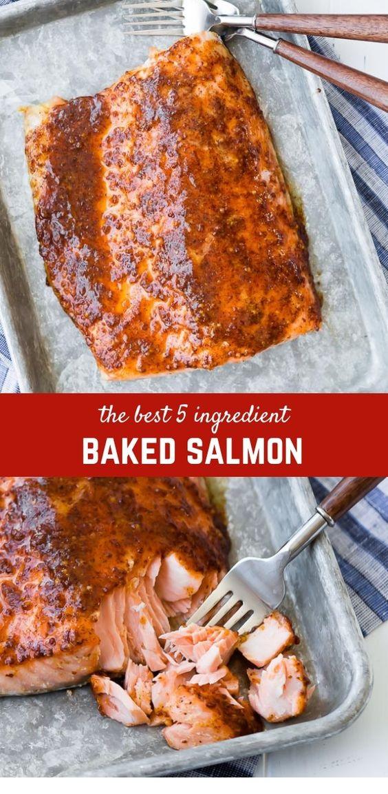 Baked Salmon With Maple Mustard Glaze