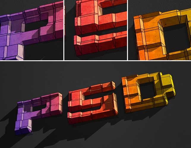 Create 3D Text Blocks in Photoshop @ Webdesignerpad