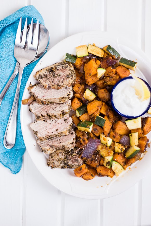 souvlaki pork tenderloin with mixed vegetables
