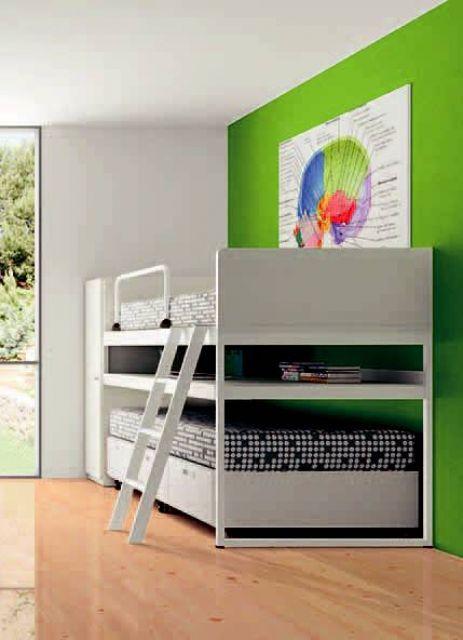 Litera con 2 camas la de abajo con cajones y ruedas y mesa de estudio extraible - Literas blancas ...