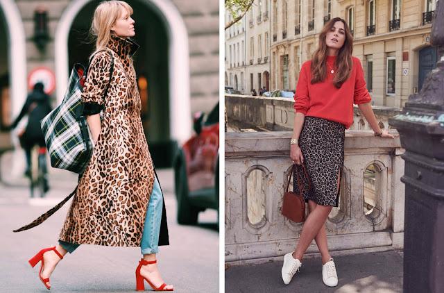 Леопардовое пальто с красными туфлями, леопардовая юбка с красным свитером
